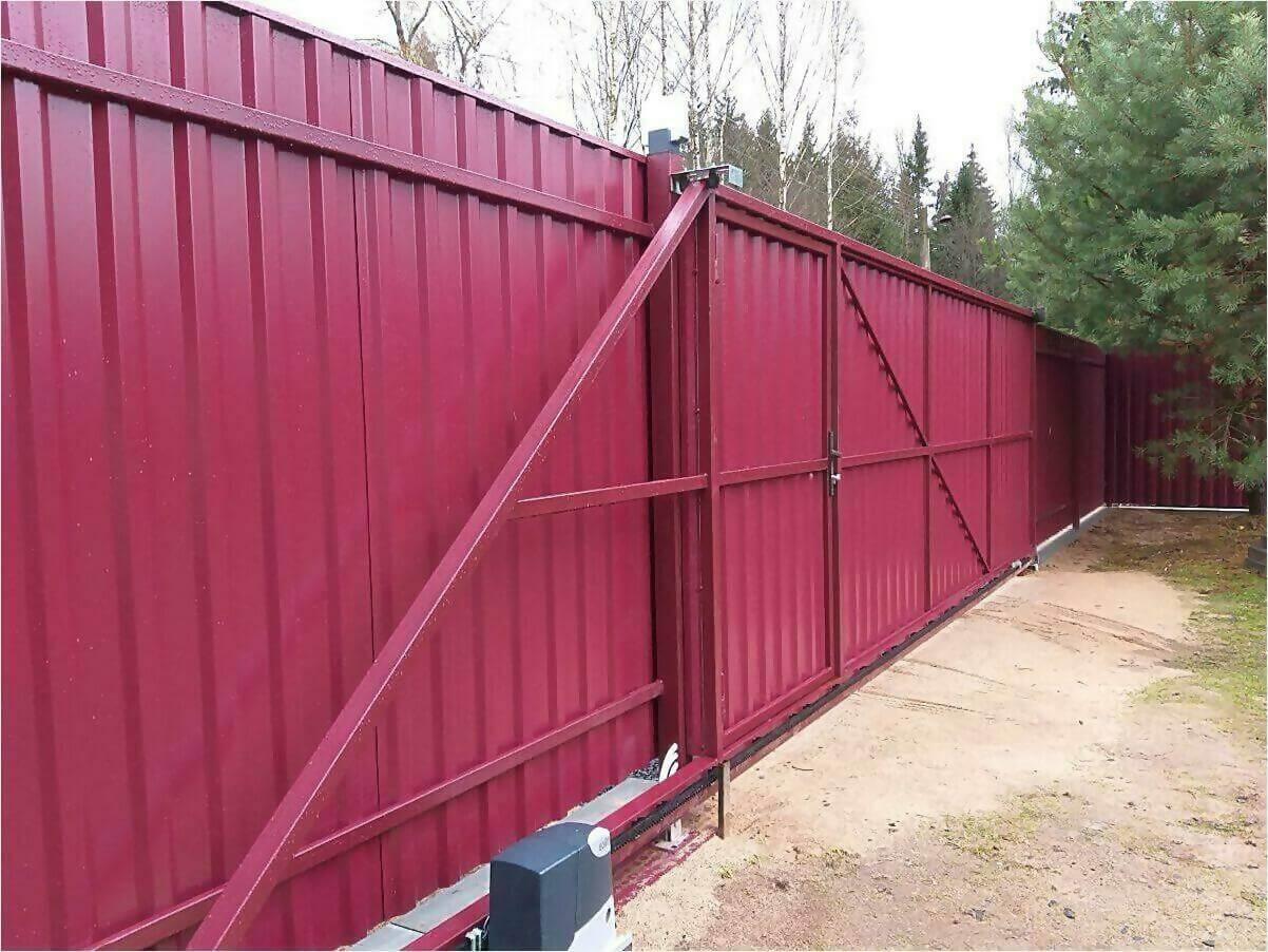 Забор 70м из двустороннего профлиста 3005 фото3