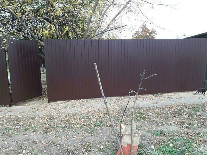 Забор из металлопрофиля 8017 коричневый фото 4