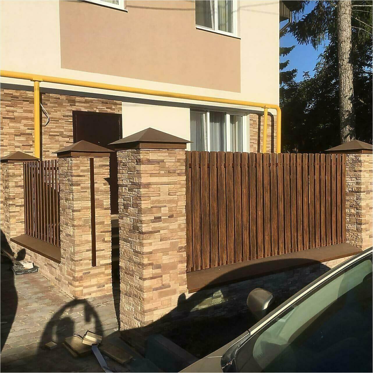 забор из штакетника 70м каштан фото3