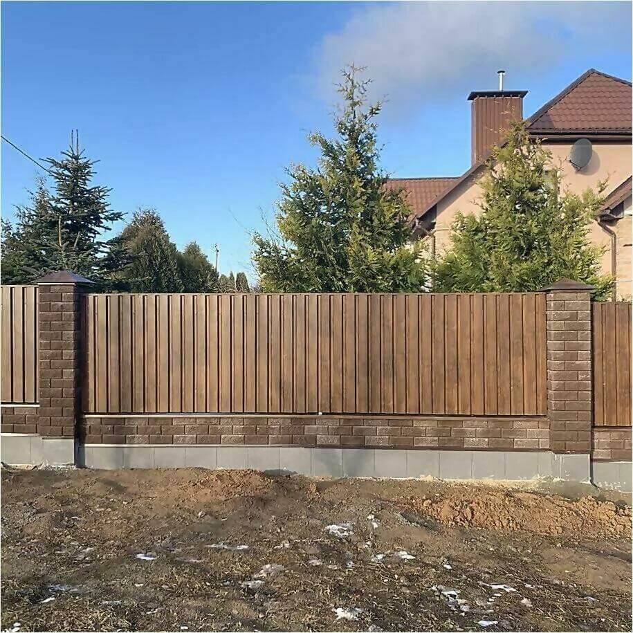 Забор из профлиста НС-21 цвет Printech темное дерево фото6