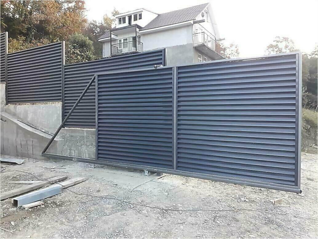 забор жалюзи Серый графит фото3