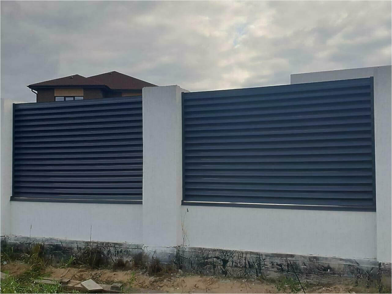 забор-жалюзи серый графит фото1