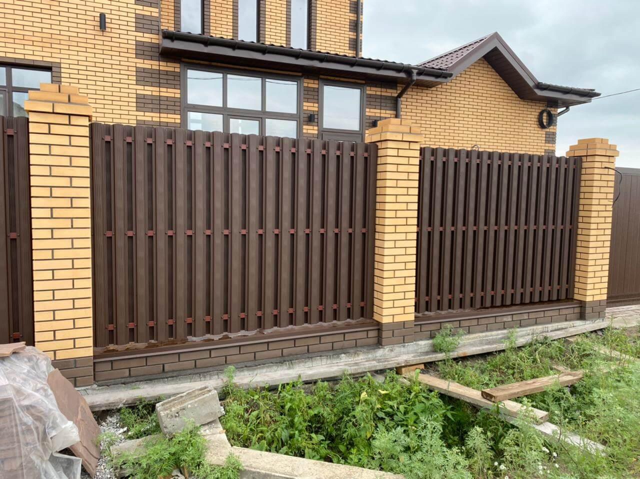 забор из штакетника Шоколад двухсторонний фото3