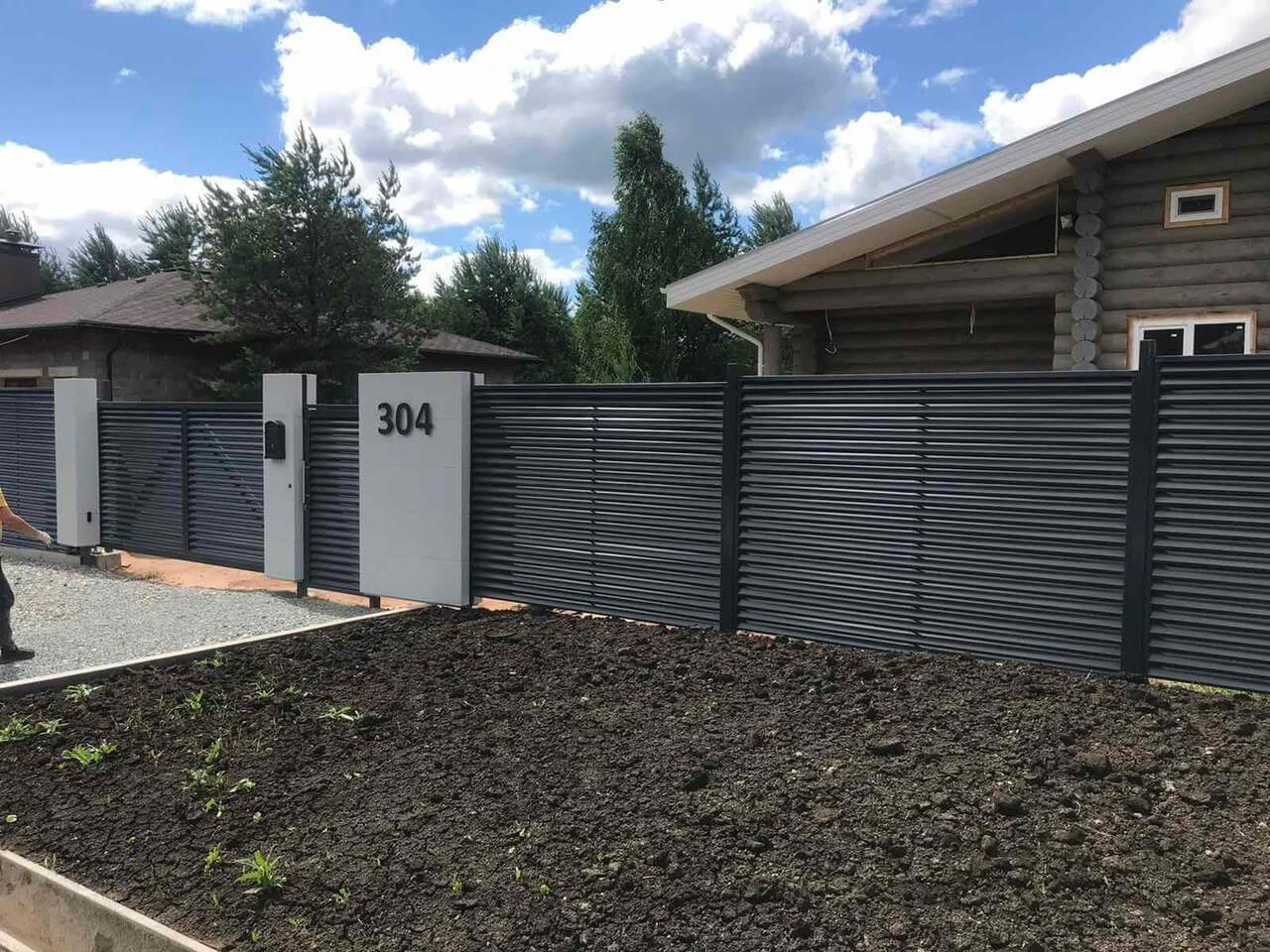 забор-жалюзи ЭКО-Z серый графит фото1